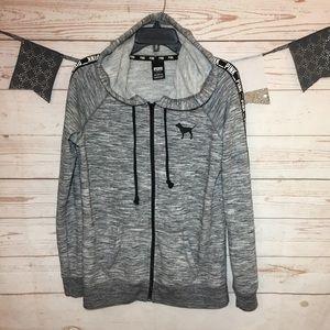 PINK Heather Gray Full Zip Hoodie Sweatshirt Sz S
